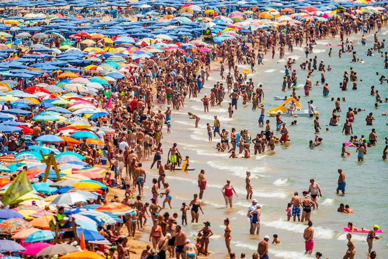 photo of crowds on a beach